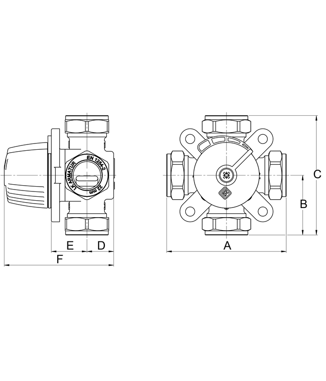 LK 831 - Compression fitting Measurement drawing (LKA)