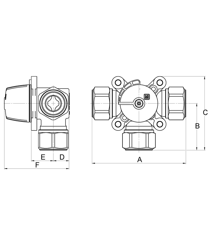 LK 840 - Compression fitting Measurement drawing (LKA)